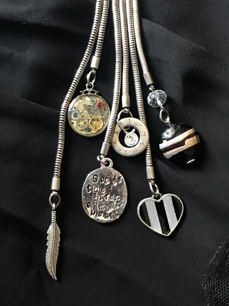 One-Off Unique Bible Verse Necklace God is The Strength of My image 0