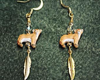 cat earrings handmade earrings Lynx Earrings with Crystal and Feather gold Lynx earrings