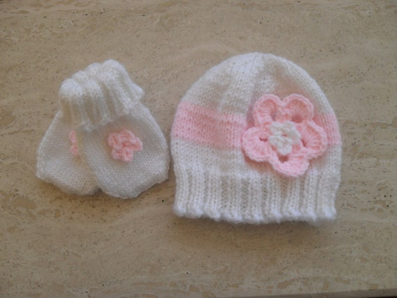 Instant Download Knitting Pattern Baby Girl Hat   Mittens  f907ff42d93