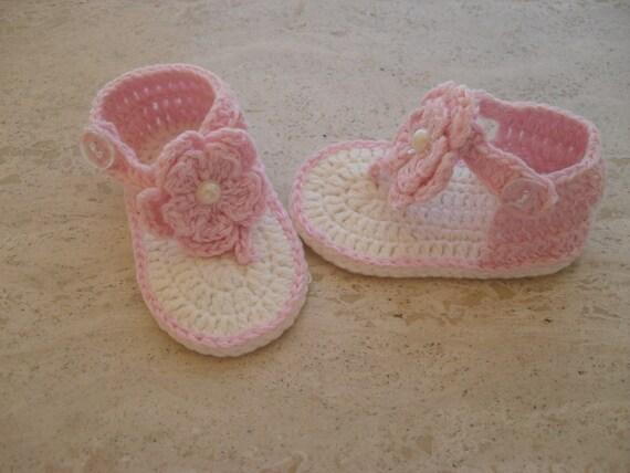 Flip Flops Crochet Baby Girl Sandals Crochet Baby Girl Shoes New Born 0 to 3 Mths Ready Made