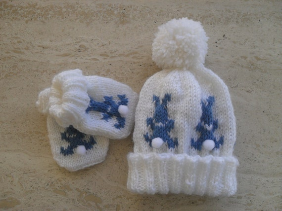 Instant Download Knitting Pattern Baby Bobble Hat And Mittens  7af18ecec40