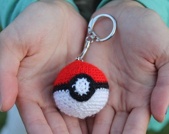 Mini Crocheted Pokeball Keychain / Lanyard Backpack Charm