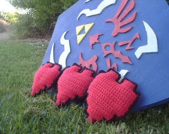 8-Bit Crocheted Red Heart Piece / Legend of Zelda Inspired  / Based off of the Original Legend of Zelda NES Heart Graphic
