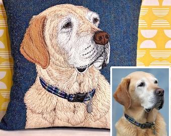 Pet portrait cushion - embroidered pet memorial
