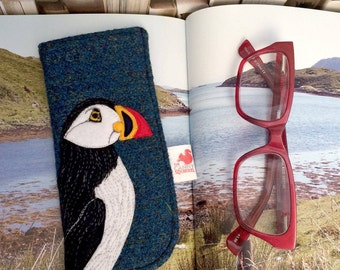 Puffin glasses case - deep blue Harris Tweed glasses case - puffin spectacles case - puffin sunglasses case