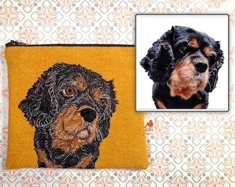 Pet portrait harris tweed zip pouch - made to order