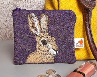 Hare coin purse - purple Harris Tweed embroidered hare purse
