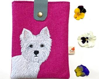 West Highland Terrier e-reader case - pink Harris Tweed tablet case