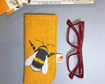 Bumblebee glasses case - yellow Harris Tweed bee specs case