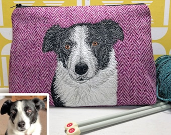 Pet portrait project bag made with Harris Tweed