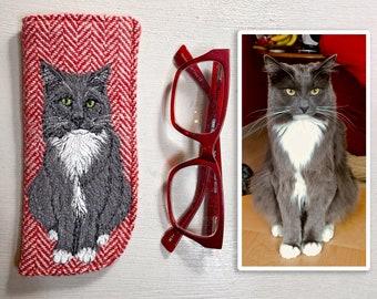 Pet portrait harris tweed glasses case - made to order