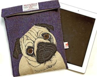 Pug iPad case - purple Harris Tweed tablet case