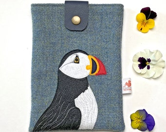 Puffin tablet case - harris tweed e-reader case