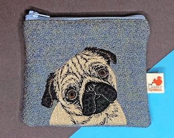 Pug coin purse  - blue Harris Tweed embroidered zip purse
