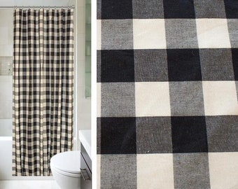 Buffalo Check Woven Shower Curtain In Black 72x72 Or 72 X 96