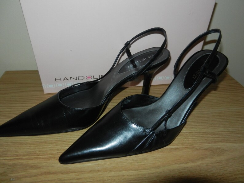 703eb230c49 Womens Shoes in Black Leather Slingbacks by Nine West Size