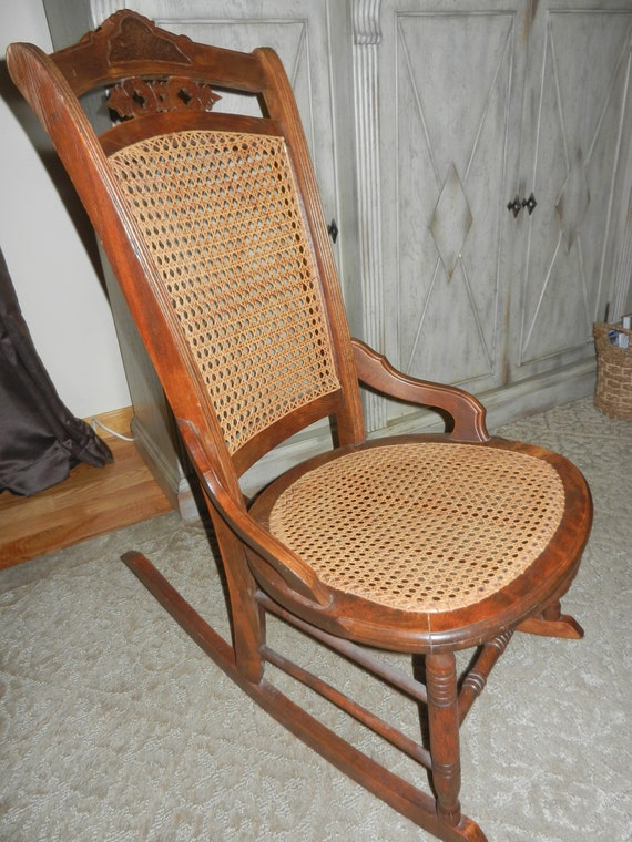 Surprising Vintage Cane Rocking Chair For A Young Person Pabps2019 Chair Design Images Pabps2019Com