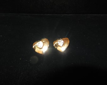 Heart Shaped Gold Finished Pierced Earrings with Clear Stone insert