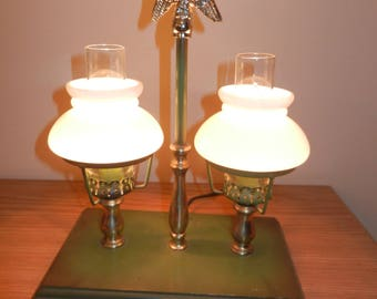 Vintage Hurricane Lamps, Wooden Base , Great Desk Lamp