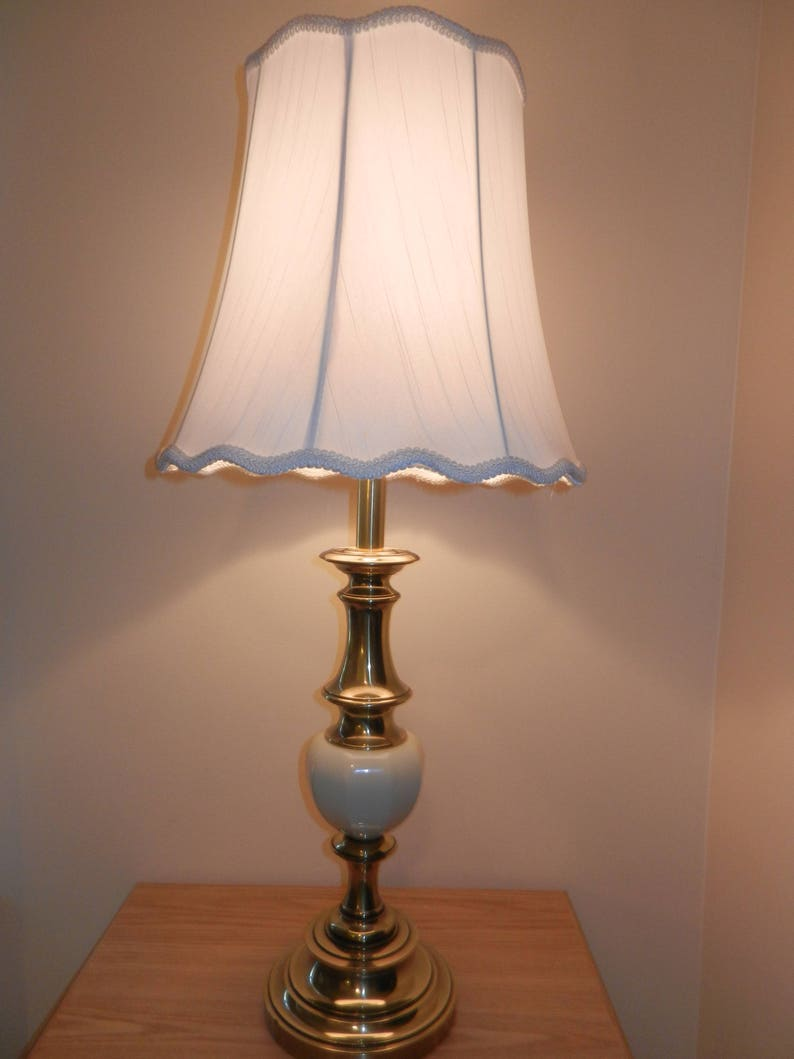 Stiffel Lamp 6082 Brass Table Lamp White Lace Scalloped Etsy
