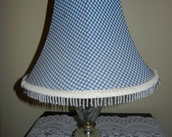 Vintage Blue/White Check Uno Shade with Beads & White fabric lining