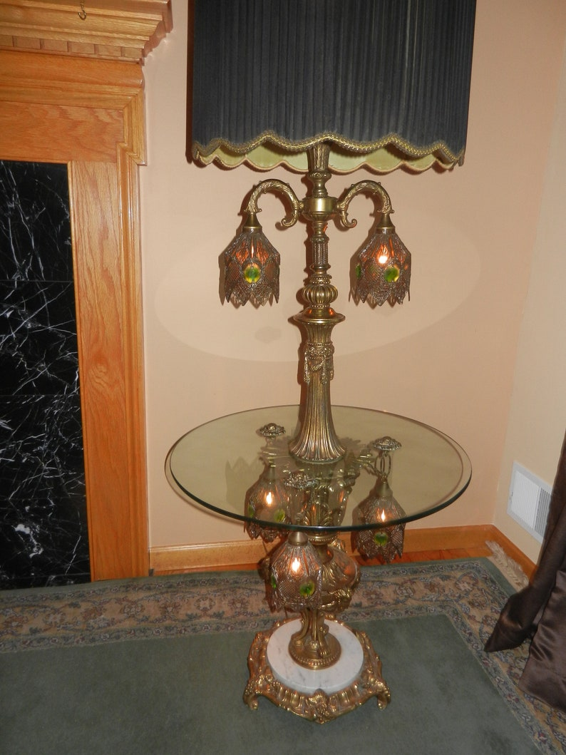 Vintage Floor Lamp With Glass Table, Victorian Floor Lamp, Antique Floor  Lamp, Arrangements To Be Made For Pick Up