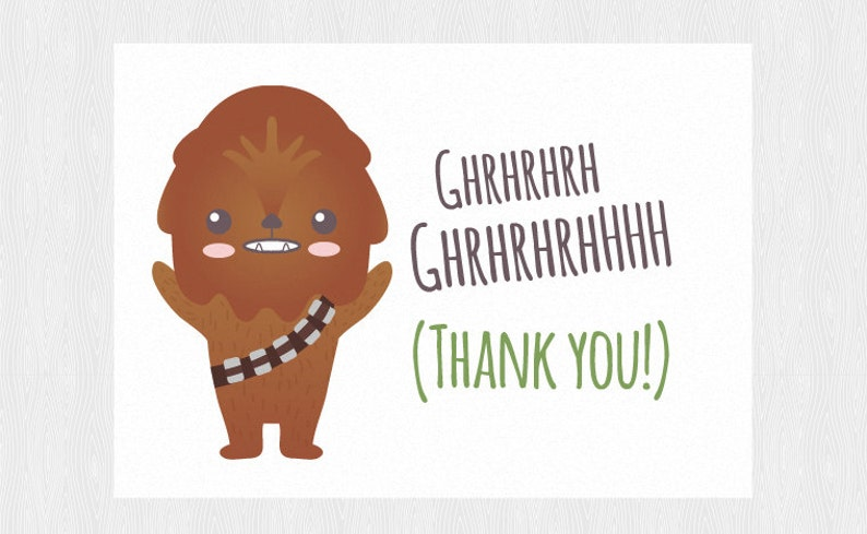 picture about Star Wars Printable Cards identify Thank yourself Star wars printable card with Chewbacca - PDF Do it yourself 6x4 inch