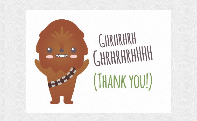Thank You Star Wars Printable Card With Chewbacca Pdf Diy Etsy