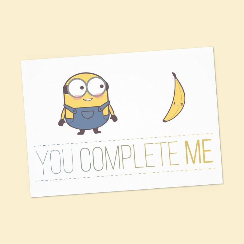 photo regarding Minions Logo Printable known as Minions and banana Humorous anniversary printable card - PDF Do it yourself 6x4 inch