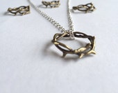 Crown of Thorns Antiqued Bronze Pendant Necklace or Ring on Silver or Antiqued Bronze Chain (Unisex Christian Religious Jewelry)