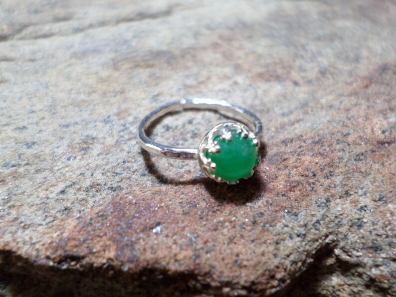 Green Jade Ring,Green Jade Gemstone Ring,Bezel Ring Adjustable Size,Sterling Silver Bezel Set Ring,Fine Jewelry
