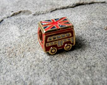 Red London Bus Charm, British Flag Charm, English Flag Charm, Red Charm, Bracelet Charm, Pugster Charm, European Charm Bead