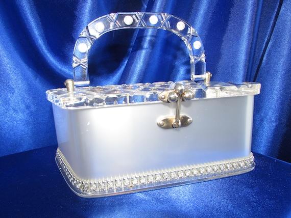 Vintage Florida Handbag Metallic White Lucite Purs