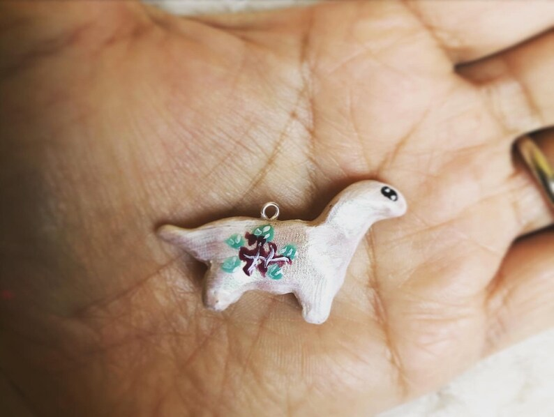 Polymer Clay Brachiosaurus Charm with painted Flowers Option to have inserted on Stainless Steel Necklace or keychain!
