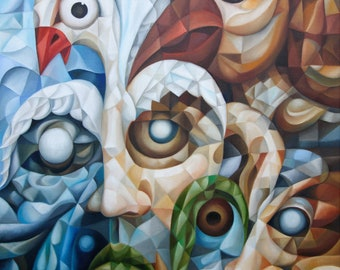 """Cubist surrealist original oil painting """"The Blind Leading The Blind"""" 2021, 18"""" x 24"""" (oil on canvas by Alex Lavrov) Psychological symbolism"""