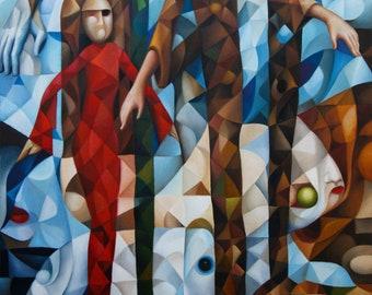 "Cubism ""Humankind"" 2021, 20"" x 30"" (original oil painting on canvas by Alex Lavrov) Psychological symbolism, surrealism, cubist"