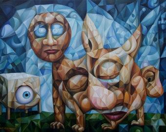 "Psychological symbolism. Original oil painting ""Extinct Ideas"" 2021, 20"" x 28"" (oil painting on canvas by Alex Lavrov) cubism, surrealism"