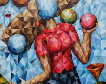 "Cubist painting ""Thought Bubbles"" 2021, 18"" x 24"" (original oil painting on canvas by Alex Lavrov) Psychological symbolism, surrealism"