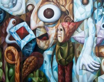 """Cubist surrealist original oil painting """"The Mind"""" 2021, 20"""" x 28"""" (original oil painting on canvas by Alex Lavrov) Psychological symbolism"""