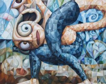 "Psychological symbolism. Original oil painting ""Yoga"" 2021, 30"" x 30"" (original oil painting on canvas by Alex Lavrov) cubism, surrealism"