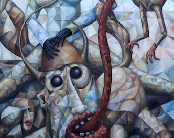 "Cubist surrealist original oil painting ""Dream Chasers"" 2019, 36"" x 24"" (original oil painting on canvas by Alex Lavrov) expressionism"