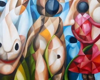 "Mirror Into The Psyche 2021, 18"" x 14"" (original oil on canvas by Alex Lavrov) Psychological symbolism, cubism, surrealism, philosophy"
