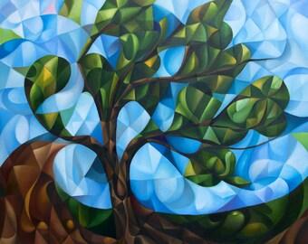 "Just A Tree 2021, 20"" x 24"" (original oil painting on canvas by Alex Lavrov) Psychological symbolism, cubism, zen, philosophy"
