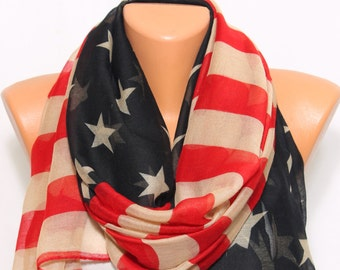 US Flag American Flag Vintage Inspired Scarf Patriotic Scarf Lightweight So Soft Comfy Scarf Independence Day 4th of July 4th Patriot Day