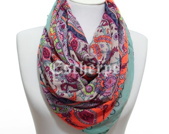222254d0e3f41 Floral Paisley Print Boho Neon Orange Woman Scarf Spring Summer Womens  Fashion Accessories Christmas Gift Ideas For Her Mom Girlfriend