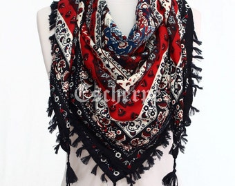 Navy Red Blue Floral Print Square Tassel Cotton Scarf Fall Winter Woman Fashion Accessory Christmas Gift Ideas For Her For Mom