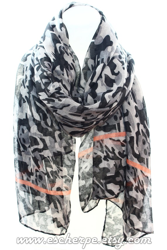 Skull Print Camo Scarf Infinity Scarf Gift Ideas For Her For Etsy