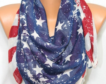 Vintage Inspired US Flag American Flag Scarf Patriotic Scarf Lightweight So Soft Comfy Scarf Independence Day 4th of July 4th Patriot Day
