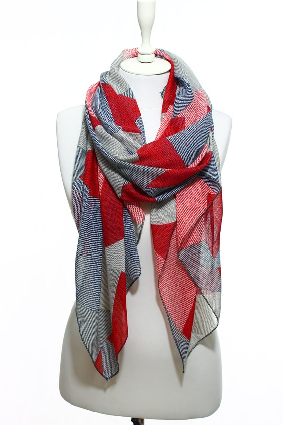 SPRING SALE Red Navy Beige Zig Zag Geometric Print Lightweight Scarf Spring  Summer Woman Fashion Accessory Scarves Women Gift Ideas 54ffcf349