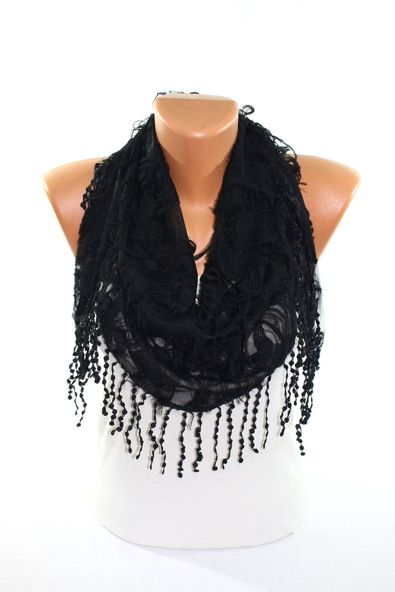 d7e141dbcc3 Black Butterfly Pattern Tulle Lace Trim Triangle Scarf